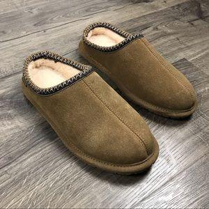 Bearpaw mens Joshua slippers tan suede wool lined